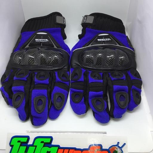 ถุงมือ (SCOYCO) MC 14B SIZE L เต็มนิ้ว สีฟ้า